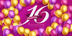 16 years anniversary logo template design on pink background and balloons. 16th anniversary celebration background with pink ribbon and balloons. Party poster or brochure template. Vector illustration