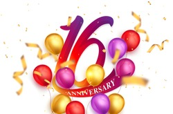 16 years anniversary logo template design on white background and balloons. 16th anniversary celebration background with red ribbon and balloons. Party poster or brochure template.