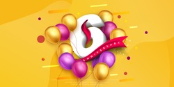 6 years anniversary logo template design on yellow background and balloons. 6th anniversary celebration background with red ribbon and balloons. Party poster or brochure template. Vector illustration.