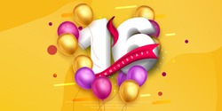 16 years anniversary logo template design on yellow background and balloons. 16th anniversary celebration background with red ribbon and balloons. Party poster, brochure template. Vector illustration.
