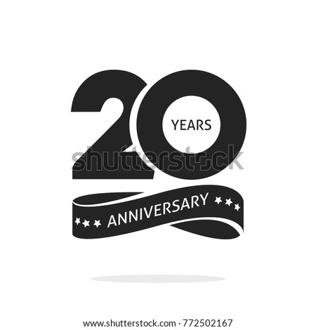 20 years anniversary logo template isolated on white, black and white stamp 20th anniversary icon label with ribbon, twenty year birthday seal symbol