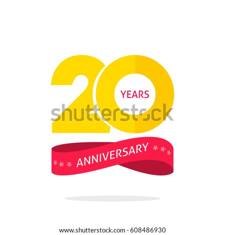 Shutterstock 20 years anniversary logo template isolated on white, 20th anniversary icon label with ribbon, twenty year birthday symbol isolated on white background