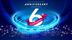 6 years anniversary logo template on dark blue Abstract futuristic space background. 6th modern technology design celebrating numbers with Hi-tech network digital technology concept design elements.