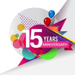 15 Years Anniversary logo with balloon and colorful geometric background, vector design template elements for your birthday celebration.