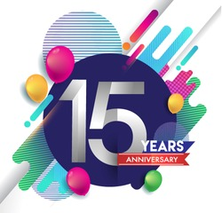 15 years Anniversary logo with colorful abstract background, vector design template elements for invitation card and poster your birthday celebration.