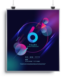6 Years Anniversary Logo with Colorful Galactic background, Vector Design Template Elements for Invitation Card and Poster Your Birthday Celebration.