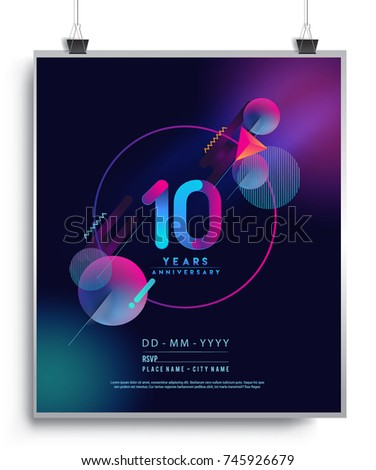10 Years Anniversary Logo with Colorful Galactic background, Vector Design Template Elements for Invitation Card and Poster Your Birthday Celebration. ストックフォト ©