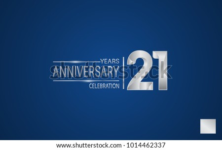 21 years anniversary logo with elegance silver color isolated on blue background for celebration event