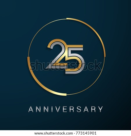 25 Years Anniversary Logotype with  Gold and Silver Multi Linear Number in a Golden Circle , Isolated on Dark Background