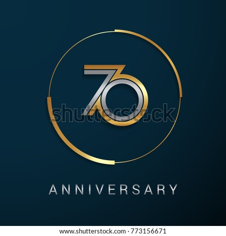 70 Years Anniversary Logotype with  Gold and Silver Multi Linear Number in a Golden Circle , Isolated on Dark Background