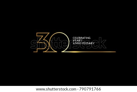 30 Years Anniversary logotype with golden colored font numbers made of one connected line, isolated on black background for company celebration event, birthday