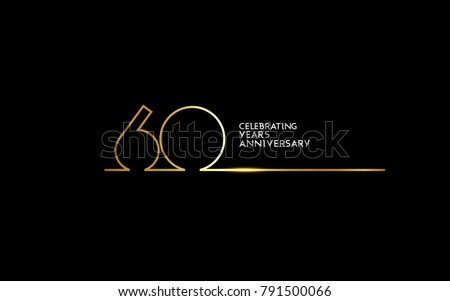 60 Years Anniversary logotype with golden colored font numbers made of one connected line, isolated on black background for company celebration event, birthday
