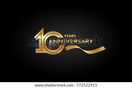 10 Years Anniversary Logotype with  Golden Multi Linear Number and Gold Ribbon, Isolated on Black Background