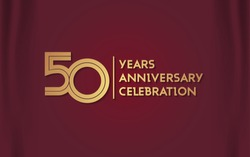 50 Years Anniversary Logotype with  Golden Multi Linear Number Isolated on Red Curtain Background