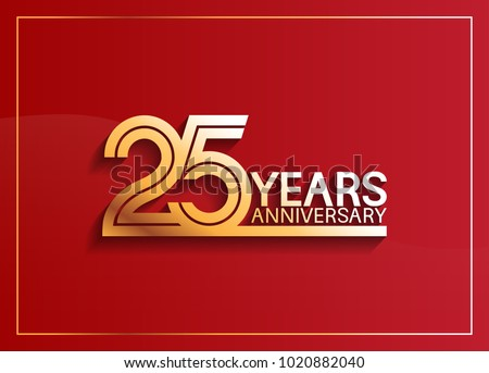 25 years anniversary logotype with golden multiple line style on red background for celebration