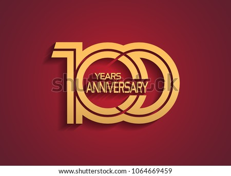 100 years anniversary logotype with linked multiple line golden color isolated on red background for celebration event