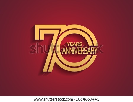 70 years anniversary logotype with linked multiple line golden color isolated on red background for celebration event