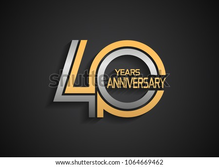 40 years anniversary logotype with multiple line silver and golden color isolated on black background for celebration event