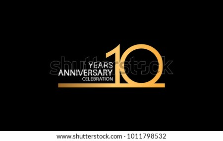 10 years anniversary logotype with single line golden and silver color for celebration