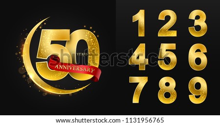 10 - 90 years anniversary 1,2,3,4,5,6,7,8,9,0 Numbers. Pattern with arabic golden and yellow moon red ribbons on black background for invitation card, muslim,greeting card, Eid al Adha,