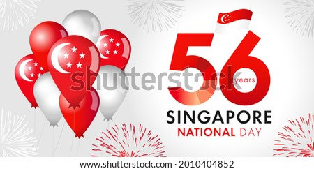 56 Years Anniversary of Singapore National Day with balloons and flag. Happy Singapore Independence day August 9, republic celebration vector illustration Photo stock ©