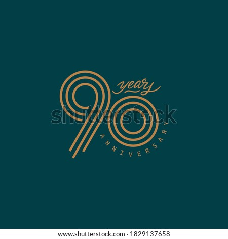 90 years anniversary pictogram vector icon, 90th year birthday logo label. ストックフォト ©