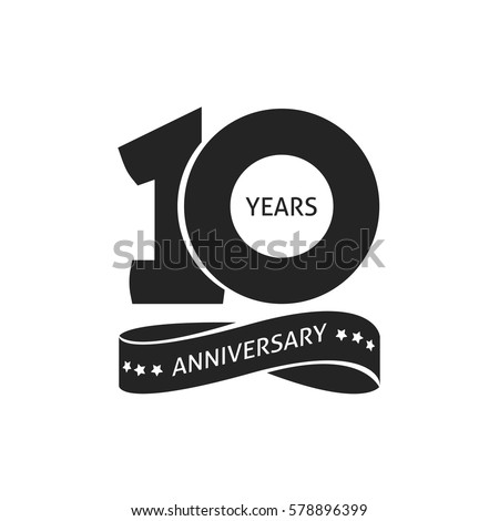 10 years anniversary pictogram vector icon, 10th year birthday logo label, black and white stamp isolated Foto stock ©