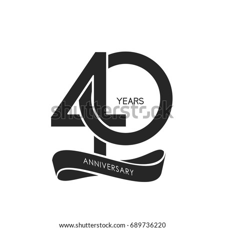 40 years anniversary pictogram vector icon, 40 years birthday logo label, black and white stamp isolated