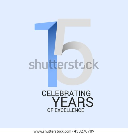 15 years anniversary signs symbols simple design stock vector