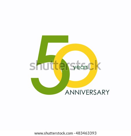 Shutterstock 50 years anniversary, signs, symbols, which is yellow and green with flat design style