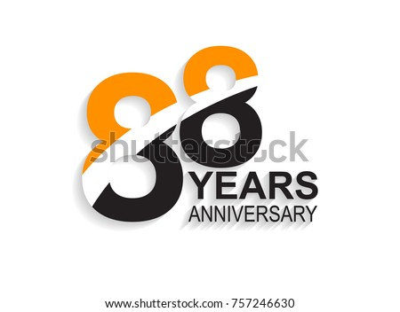 88 years anniversary simple design with white slash in orange and black number for celebration event