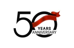 50 years anniversary simple logotype with black color with elegant red ribbon isolated on white background for celebration event