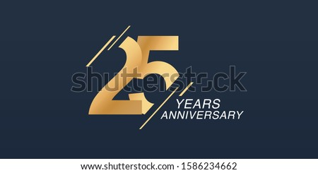 25 years anniversary vector icon, logo. Graphic design element with golden number on isolated background for 25th anniversary  Foto stock ©