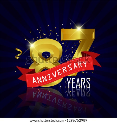 87 years anniversary Vector Template Design with golden color and silver ribbon isolated on blue sunburst background illustration for celebration event - Vector