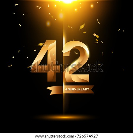 42 Years Anniversary with gold stylized number and confetti. Applicable for brochure, flyer, Posters, web and Banner Designs. Vector illustration. #726574927