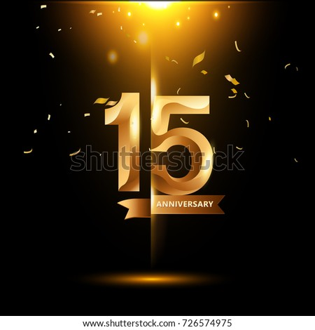 15 Years Anniversary with gold stylized number and confetti. Applicable for brochure, flyer, Posters, web and Banner Designs. Vector illustration. #726574975