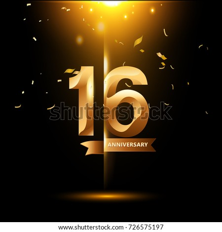 16 Years Anniversary with gold stylized number and confetti. Applicable for brochure, flyer, Posters, web and Banner Designs. Vector illustration. #726575197