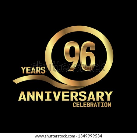96 years Anniversary with golden font and circle with golden ribbon and black design. Simple design anniversary. golden font in center golden circle. My all design can see in my portofolio