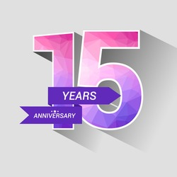 15 Years Anniversary with Low Poly Design