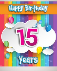 15 Years Birthday Celebration, with balloons and clouds, Colorful Vector design for invitation card and birthday party.