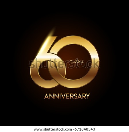 60 years gold anniversary celebration overlapping number logo, isolated on dark background