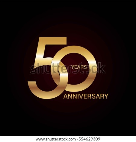 Shutterstock 50 years gold anniversary celebration simple logo, isolated on dark background
