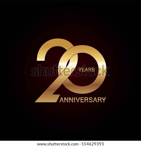 Shutterstock 20 years gold anniversary celebration simple logo, isolated on dark background