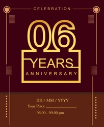 06 years golden anniversary design line style with square golden color for anniversary celebration event.
