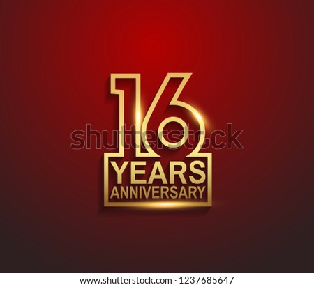 16 years golden anniversary line style isolated on red background for celebration