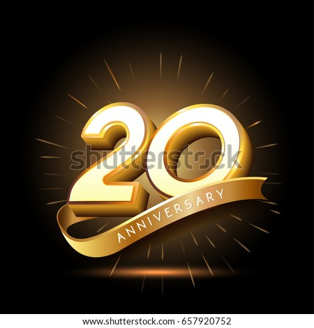 Shutterstock 20 years golden anniversary logo celebration with firework and ribbon