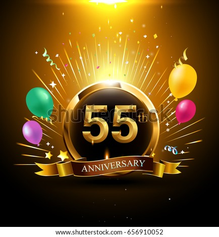 55 years golden anniversary logo celebration with ring, ribbon, firework, and balloon