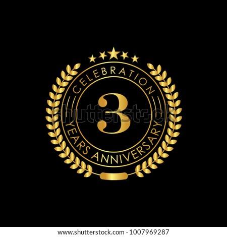 3 Years Golden Anniversary Logo Template with Laurel Wreath Vector Illustration