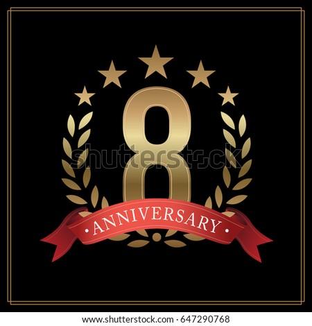8 years golden anniversary logo ...