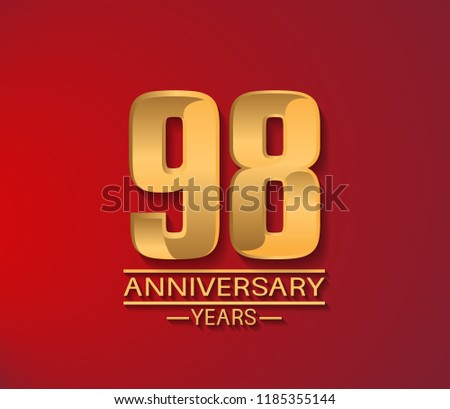 98 years golden shiny anniversary simple design with red background. Vector template for company celebration event, greeting card and invitation card #1185355144